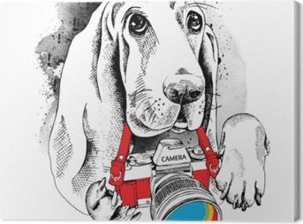 Obraz na płótnie Plakat z wizerunkiem psa z aparatem. ilustracji wektorowych.