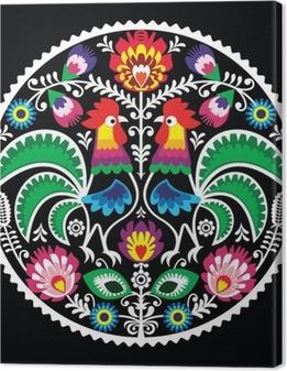 Obraz na płótnie Polski haft kwiatowy z koguty - tradycyjna ludowa