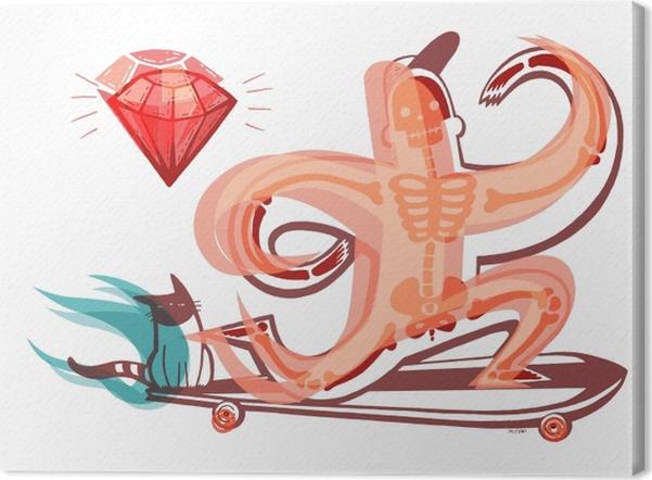 Obraz na płótnie Pomarańczowy szkielet na longboardzie - Obrazy i plakaty Do pokoju młodzieżowego