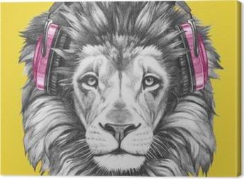Obraz na płótnie Portret Lwa ze słuchawkami. Ręcznie rysowane ilustracji.