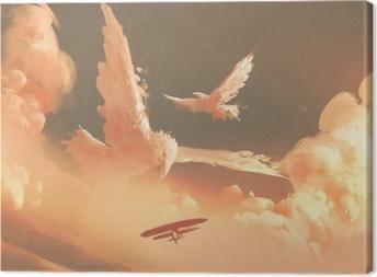 Obraz na płótnie Ptaki w kształcie chmury w niebo zachód słońca, ilustracja malarstwo