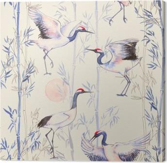 Obraz na płótnie Ręcznie rysowane Akwarele szwu z białych japońskich żurawi tańca. Powtarzające się tło z delikatnymi ptaków i bambusa
