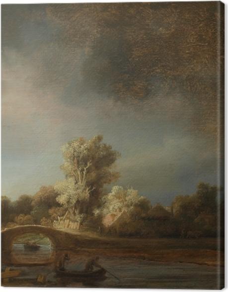Obraz na płótnie Rembrandt - Pejzaż z kamiennym mostem - Reprodukcje