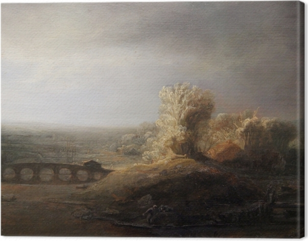 Obraz na płótnie Rembrandt - Pejzaż z mostem - Reprodukcje