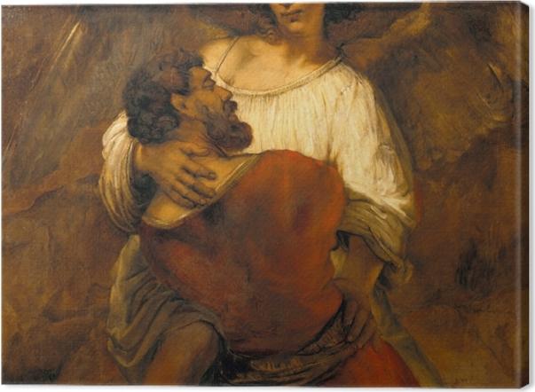 Obraz na płótnie Rembrandt - Walka Jakuba z aniołem - Reprodukcje