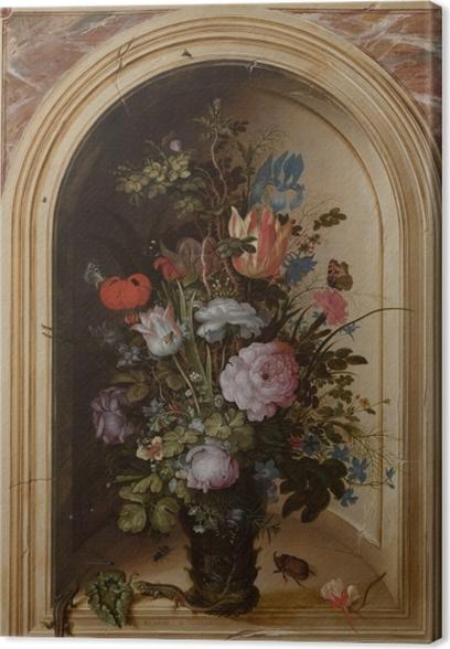 Obraz na płótnie Roelant Savery - Vase with Flowers in a Stone Niche - Reprodukcje