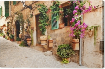 Obraz na płótnie Romantyczna uliczka z kwiatami i zielenią