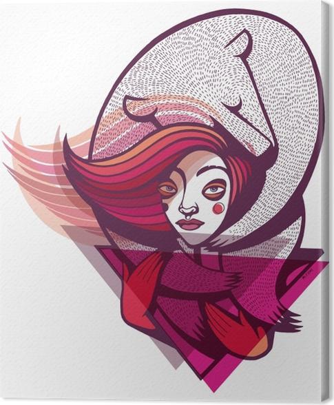 Obraz na płótnie Różowa dziewczyna z misiem - Naklejki Do pokoju młodzieżowego