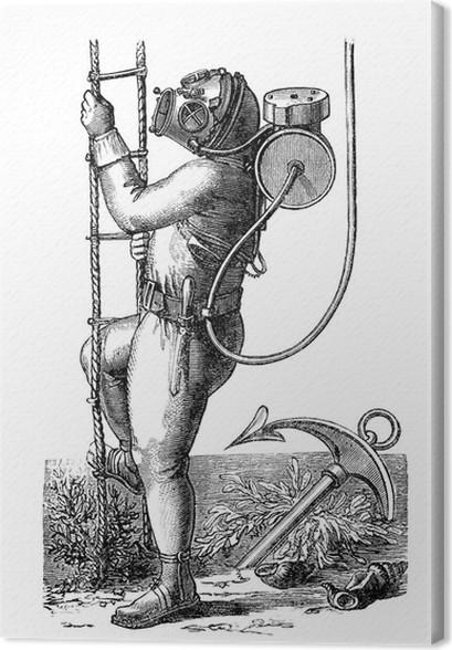 Obraz na płótnie Scaphandrier - Diver - Taucheranzug - 19 wiek - Ludzie w pracy