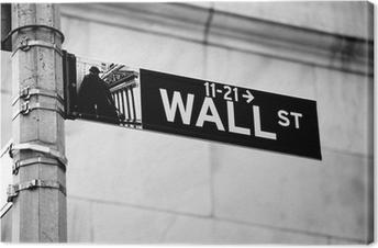 Obraz na płótnie Ściana przy ulicy znak drogowy w rogu New York Stock Exchange