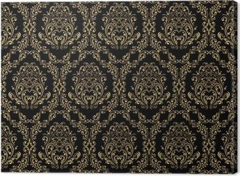 Obraz na płótnie Seamless retro tapety w stylu wiktoriańskim: złoto na czarno.