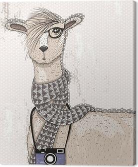 Obraz na płótnie Śliczne hipster lama z aparatu fotograficznego, okulary i szalik