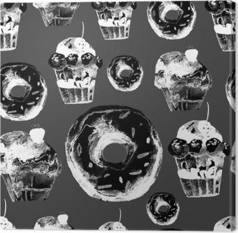 Obraz na płótnie Słodki wzór z ciasta, pączki i lody. apetyczne tło do projektowania menu, zaproszeń, stron książki kucharskiej. wspaniały nadruk na papier pakowy, materiał, płytki, tapety