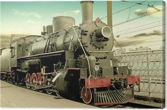 Obraz na płótnie Stary parowóz na stacji