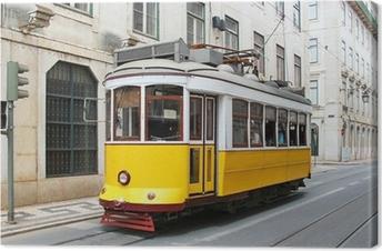 Obraz na płótnie Stary żółty tramwaj w Lizbonie, Portugalia