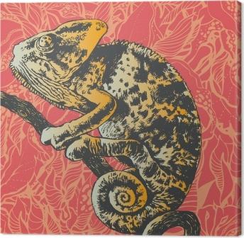 Obraz na płótnie Streszczenie tle kwiatów z kameleon