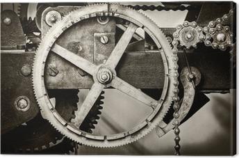 Obraz na płótnie Szczegół zardzewiały starożytnej mechanizmu zegarowego kościół