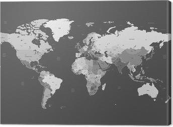 Obraz na płótnie Szczegółowa mapa świata szary