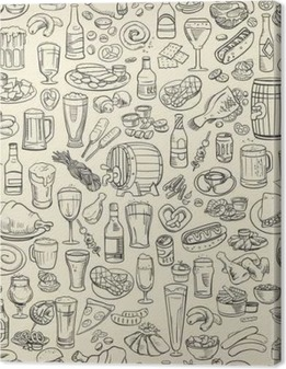 Obraz na płótnie Szkicowy piwo i przekąski