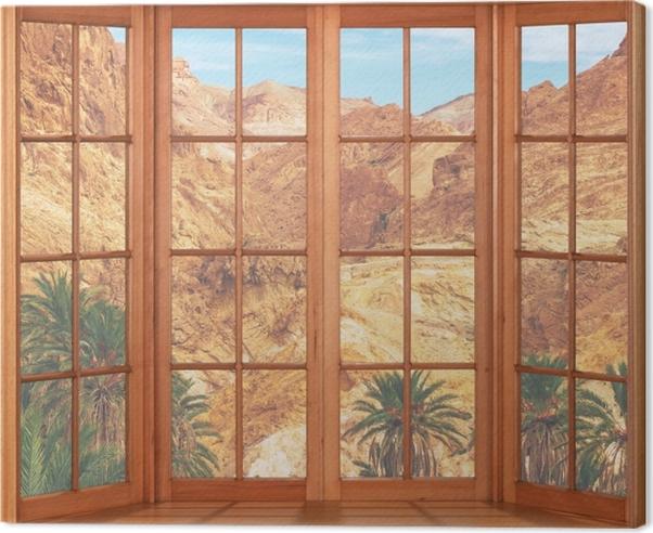 Obraz na płótnie Taras - Górskie oazy - Widok przez okno