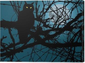 Obraz na płótnie Tle księżyca straszny las sylwetka sowa