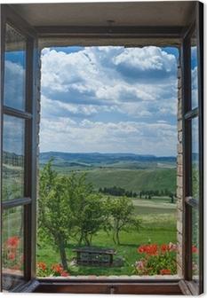 Obraz na płótnie Toskania krajobraz z okna