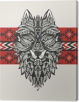 Obraz na płótnie Totem narodowy wilka. Indyjski wilk. Tatuaż wilka z ornamentem. Hand Drawn ilustracji wektorowych