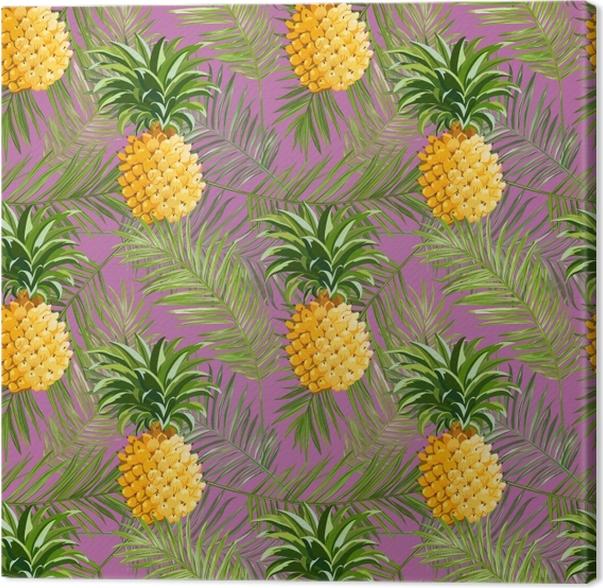 Obraz na płótnie Tropikalne liście palmowe i ananasy - Pineapple Fever