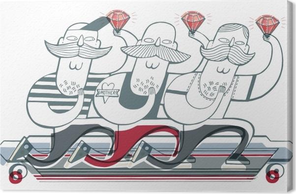 Obraz na płótnie Trzech kolegów na longboardzie z rubinami - Naklejki Sztuka