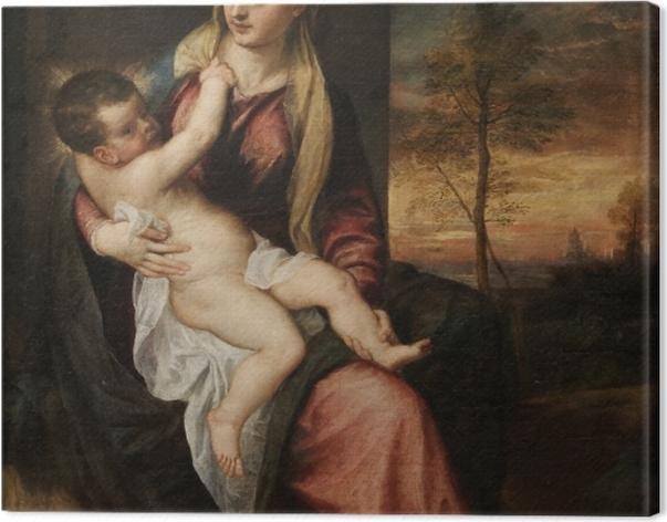Obraz na płótnie Tycjan - Madonna z Dzieciątkiem w wieczornym krajobrazie - Reprodukcje