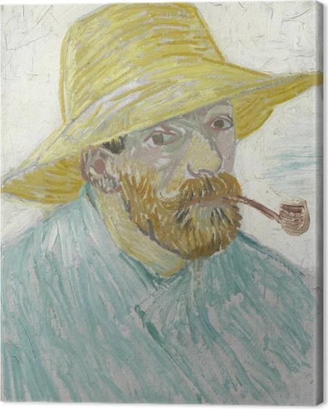 Obraz na płótnie Vincent van Gogh - Autoportret z fajką i słomianym kapeluszem - Reproductions