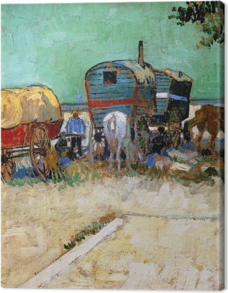 Obraz na płótnie Vincent van Gogh - Cygańskie obozowisko z wagonami - Reproductions