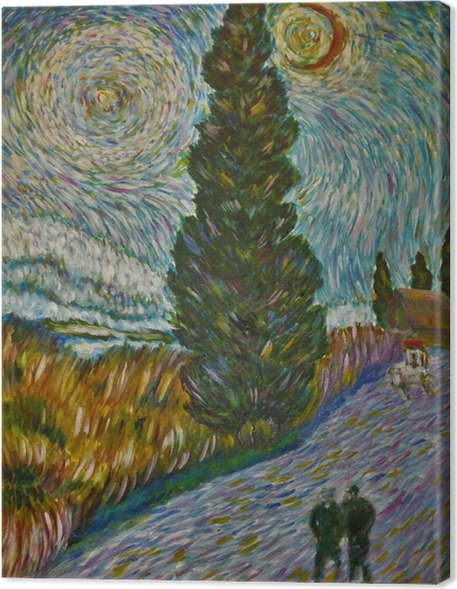 Obraz na płótnie Vincent van Gogh - Droga z cyprysem i gwiazdą - Reproductions