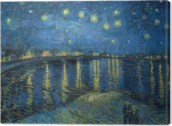 Obraz na płótnie Vincent van Gogh - Gwiaździsta noc nad Rodanem - Reproductions