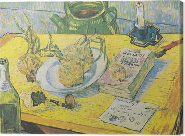 Obraz na płótnie Vincent van Gogh - Martwa natura z czajnikiem, fajką i cebulami - Reproductions