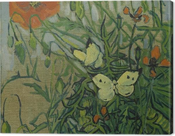 Obraz na płótnie Vincent van Gogh - Motyle i maki - Reproductions