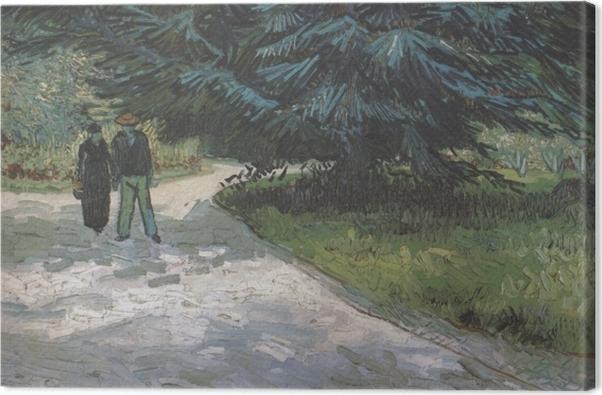 Obraz na płótnie Vincent van Gogh - Para w parku z niebieskimi jodłami - Reproductions