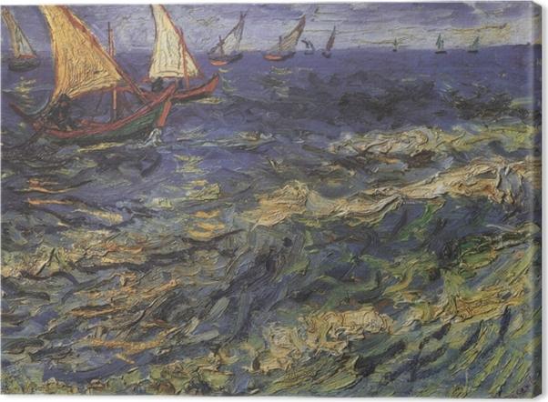 Obraz na płótnie Vincent van Gogh - Pejzaż morski z żaglówką - Reproductions