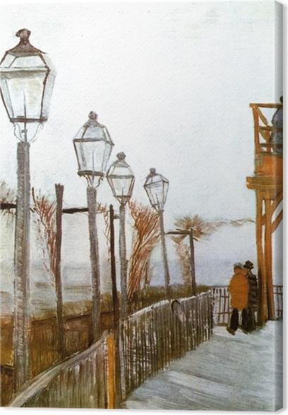 Obraz na płótnie Vincent van Gogh - Taras i taras widokowy w Moulin de Blute-Fin, Montmartre - Reproductions