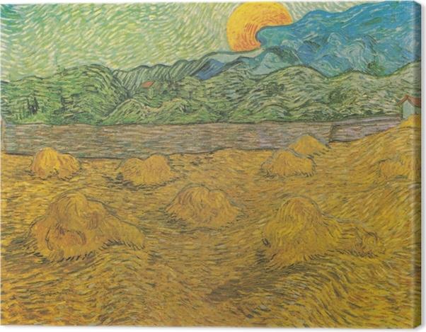 Obraz na płótnie Vincent van Gogh - Wieczorny krajobraz z księżycem - Reproductions