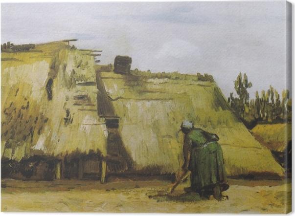 Obraz na płótnie Vincent van Gogh - Wieśniaczka pracująca przed chatą - Reproductions