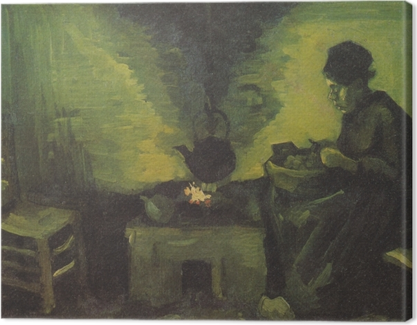 Obraz na płótnie Vincent van Gogh - Wieśniaczka przy palenisku - Reproductions