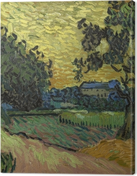 Obraz na płótnie Vincent van Gogh - Zachód słońca nad zamkiem w Auvers - Reproductions