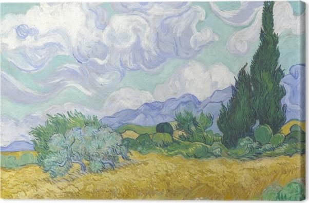 Obraz na płótnie Vincent van Gogh - Zielone pole z cyprysem - Reproductions