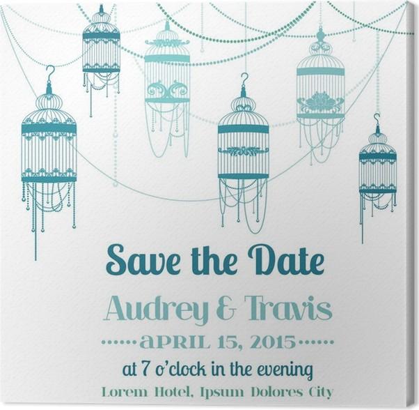Obraz Na Płótnie Vintage Wedding Invitation Card Temat Bird Cage