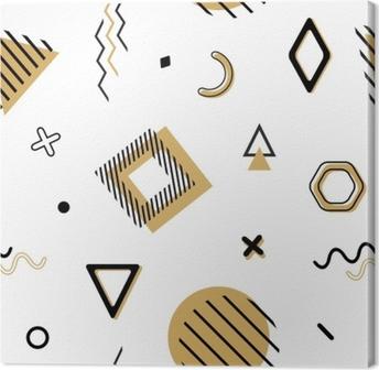 Obraz na płótnie Wektor bez szwu memphis wzór z elementami geometrycznymi w czerni i złota. chaotyczna modna geometria w minimalistycznym stylu płaskiego. nadaje się do mody, plakatów, okładek, druków.