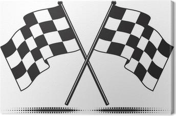 Obraz na płótnie Wektor Checkered flagi - osiągnęła cel. Gradient darmo.