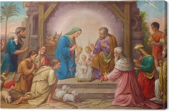 Obraz na płótnie Wiedeń - Fresk Szopka w kościele Erloserkirche.