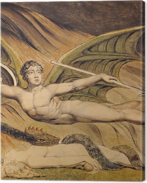 Obraz na płótnie William Blake - Szatan unoszący się nad Ewą - Reprodukcje