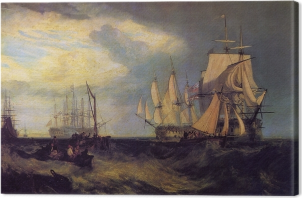 Obraz na płótnie William Turner - Załoga łodzi podnosi kotwicę niedaleko Spithead - Reprodukcje